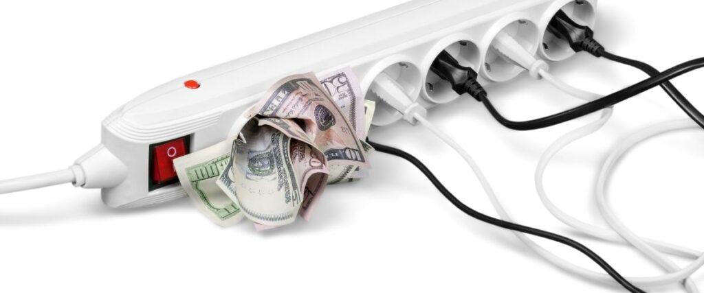 power strip with dollar bills